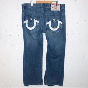 True Religion Mens Ricky Super T Straight Jeans Logo Medium Wash Size 40